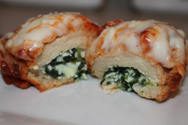 chicken breasts rolled with spinach and ricotta topped with pomodoro ...