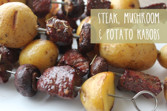 Steak Mushroom Potato Kabobs